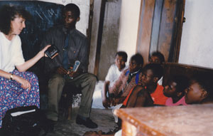 Shana Burg interviewing students in Malawi